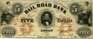 The center portrait is U.S. President Franklin Pierce. On March 26, 1835, the Territory of Michigan authorized the Erie and Kalamazoo Railroad Company to establish a bank at the village of Adrian. The bank failed around 1841 and reopened in 1853 then failed again in 1854
